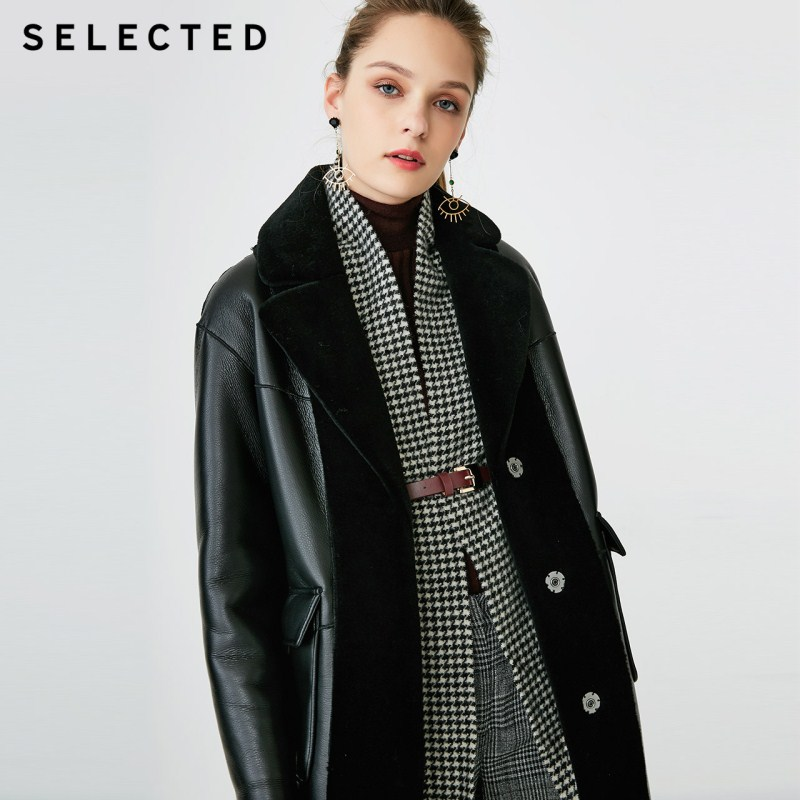 SELECTED Women's 100% Wool Mid-length Double-sided Lapel PU Coat S|4184P3505