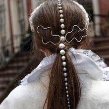 Новая мода жемчуг кисточки заколки для волос Длинная цепочка из золота расческа для волос заколки для волос когти вечерние аксессуары для волос ювелирные изделия для женщин