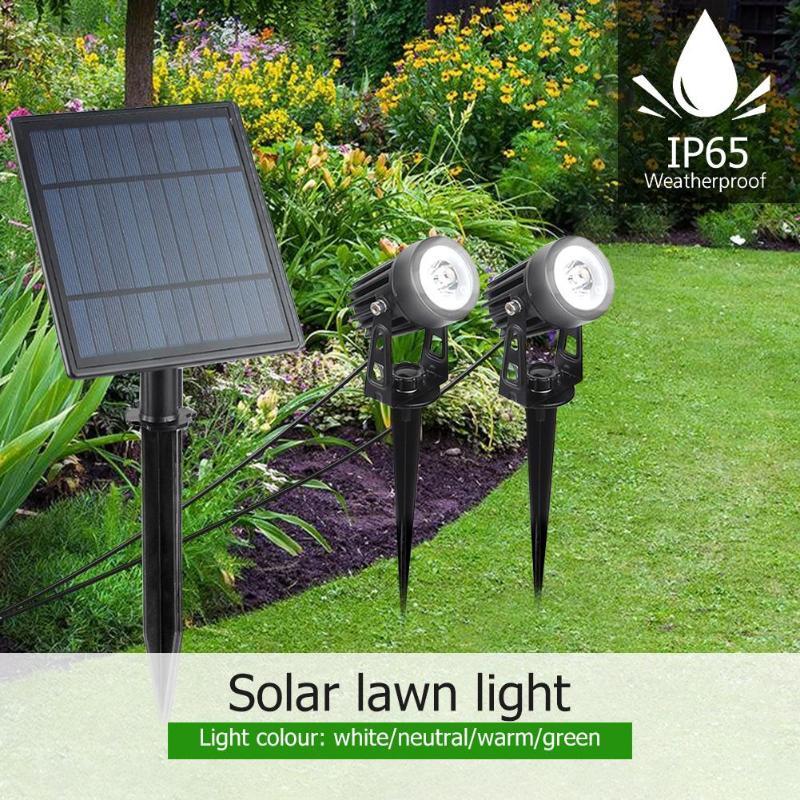 2pcs Solar Lawn Lamp Waterproof Outdoor Garden Landscape Courtyard Spotlights Strong Waterproof Fearless Of Wind And Rain