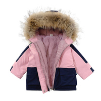30 Cold winter newborn baby Girl clothes outfits fur collar down cotton coat for infant baby girl clothing thick jackets parkas
