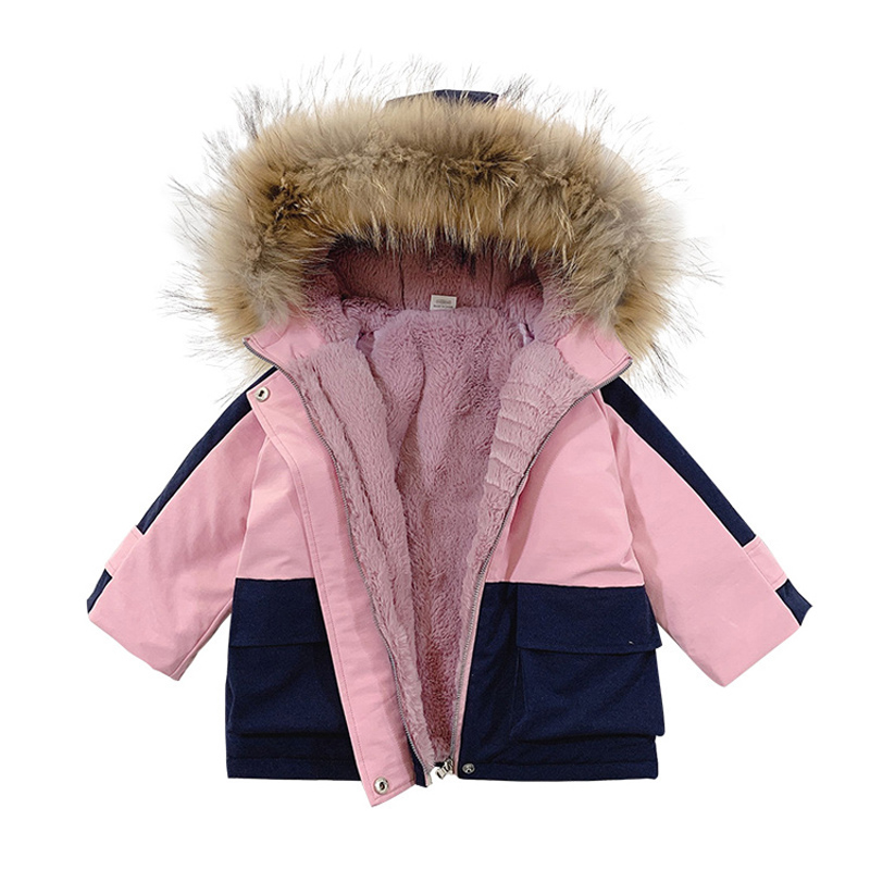 -30 Cold Winter Newborn Baby Girl Clothes Outfits Fur Collar Down Cotton Coat For Infant Baby Girl Clothing Thick Jackets Parkas