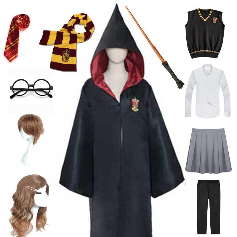 Унисекс халат Хаффлпафф Ravenclaw шарф свитер рубашка очки палочка косплей для девочек Женский костюм Гермионы костюм волшебника на Хэллоуин