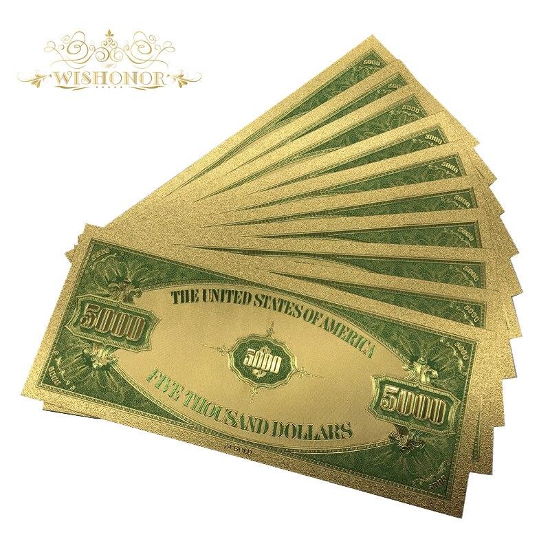 500 قطعة/الوحدة الأمريكية 1928's سنة USD 5000 دولار الذهب مطلي الأوراق النقدية في 24K الذهب احباط وهمية ورقة المال بيل لجمع-في الأوراق النقدية الذهبية من المنزل والحديقة على  مجموعة 3