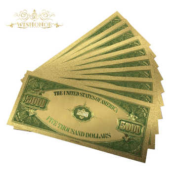 500pcs/lot American 1928\'s Year USD 5000 Dollars Gold Plated Banknote in 24K Gold Foil Fake Paper Money Bill For Collection