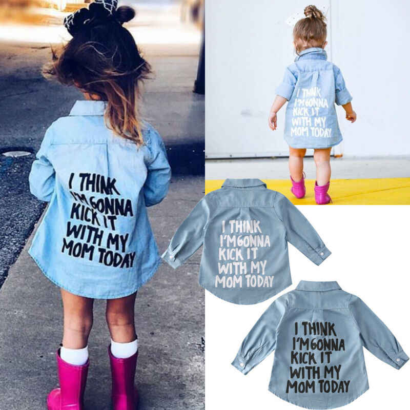 2-7Y Autumn Toddler Kids Baby Girl Shirts Tops Clothes Denim Letter Print Long Sleeve Tops Shirt Warm Coat Shirt