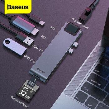 Baseus Hub tipo C con USB C a HDMI RJ45 Ethernet USB Multi 3,0 Thunderbolt 3 Power adaptador para MacBook Pro aire USB-C muelle divisor