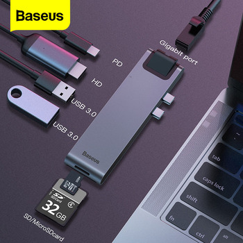Baseus USB Type C HUB C To HD RJ45 Ethernet Multi USB 3.0 Thunderbolt 3 Power Adapter For MacBook Pro Air USB-C Dock Splitter