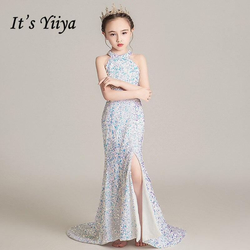 Flower Girl Dresses It's Yiiya B024 Halter Sequins Train Mermaid Dress Elegant Long Split Flower Girls Dresses For Weddings