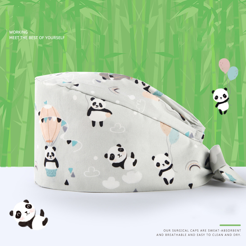 Panda Chinese Style Surgical Cap Medical Scrub Caps For Women And Men 100% Cotton With Sweatband Hospital Nurse Doctor Skull Hat