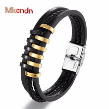 MKENDN Fashion Multilayer Braided Leather Bracelets Men Black Gold Stainless Steel Magnetic Clasp Bangles Male Jewelry Pulseras(China)