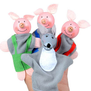 Dolls Plush-Toys Tell-Story-Props Biological Cartoon Finger-Puppets 4pcs Favor Animal