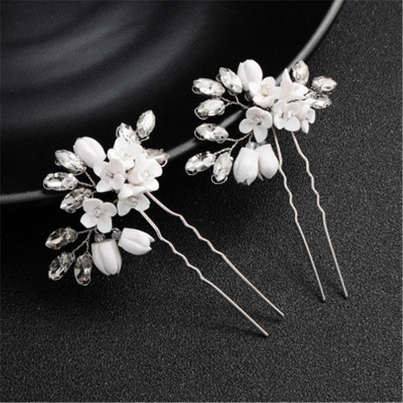 Ziron Bridal Hairpin White Rhinestone Leaf Accessories Statement Handmade Bride Headwear Charms Bride Headpiece Hair Clips Stick