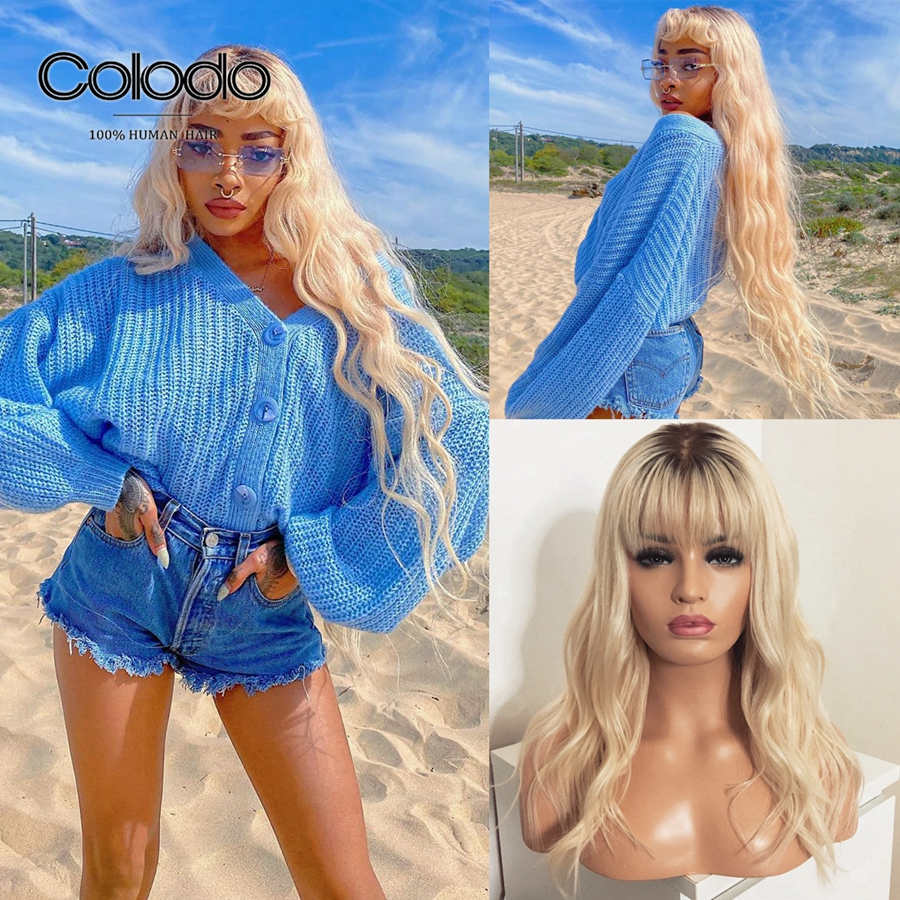 COLODO Long Loose Wave Wig Pre Plucked Remy Hair Ombre Lace Front 150% Density Blonde Human Hair Wigs With Bangs For Black Women