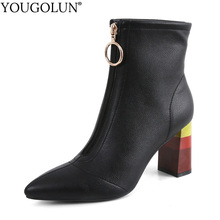цена на Cow Leather Ankle Boots Women Autumn Winter Lady Rainbow High Thick Heels A356 Woman Pointed Toe Metal Zipper Black White Shoes