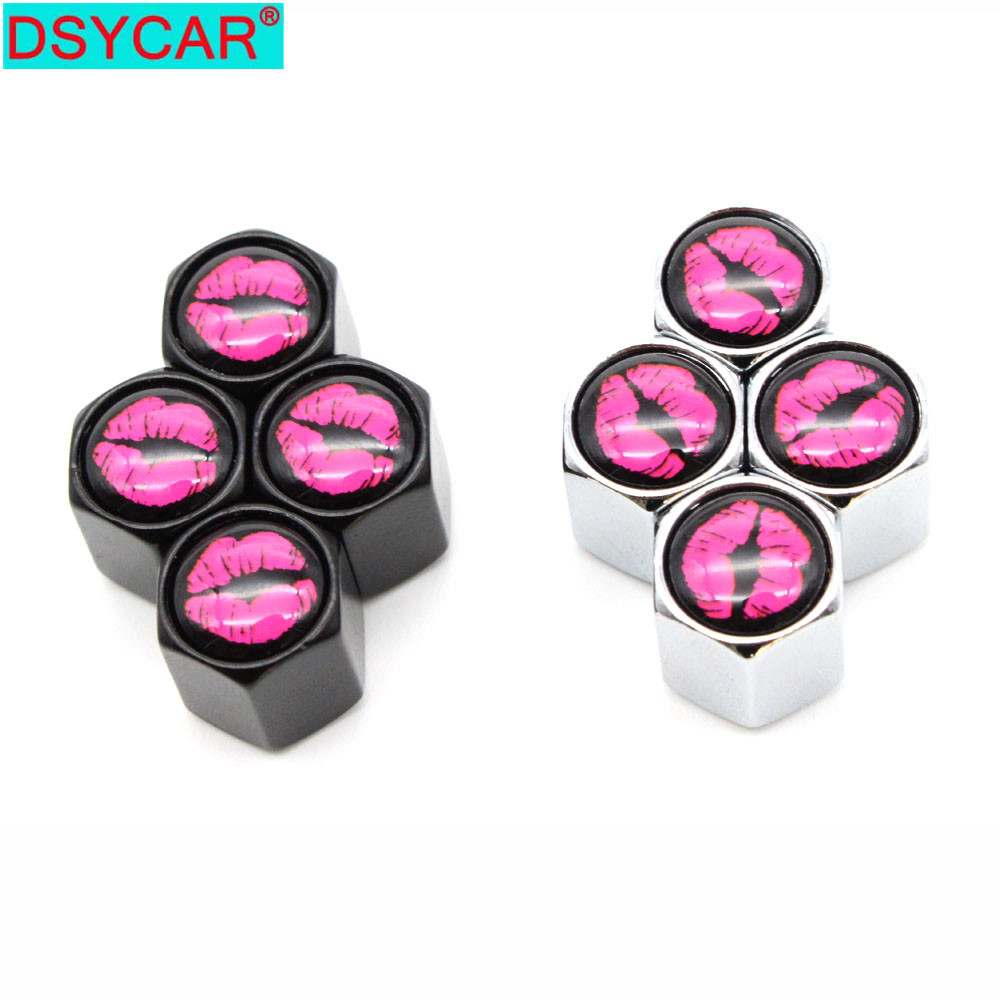 DSYCAR 4Pcs/Set Car Styling Zinc Alloy Car Tire Valve Caps Wheel Tires Tire Stem Air Cap Airtight Covers