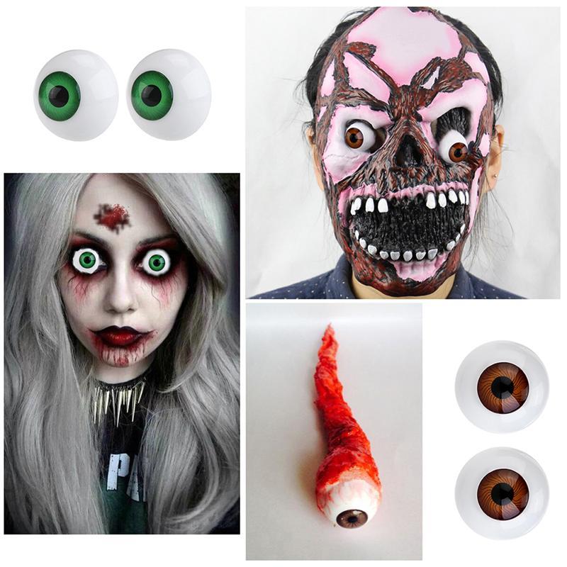 8X Eyes Eyeballs Fit into Mask Skull Halloween Party Props Half Round
