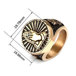 Image 5 - Gebed Handen Ringen Voor Mannen Zwart Zilver Kleur Rvs Gezegend Heilige Vintage Mannelijke Ring Religieuze Lucky Christian Sieraden