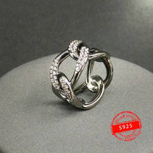 Anillo de plata de primera ley con cadena ancha párr mujer de sortija de plata esterlina 925 color negro y gris