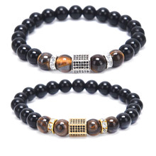 1PCS Natural Stone Tiger Eye Stone Beads Bangle Elastic Stretch Men Bracelet Jewelry New Arrived(China)
