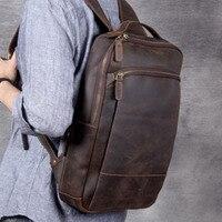 Men Leather Computer Bag Vintage Luxury Backpack School Bags For Teenage Boys Bagpack Original Handmade Suede Cowhide Backpacks