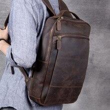 Bolso de cuero para ordenador de hombre, mochila Vintage de lujo, mochilas escolares para adolescentes, mochila Original hecha a mano de piel de vaca