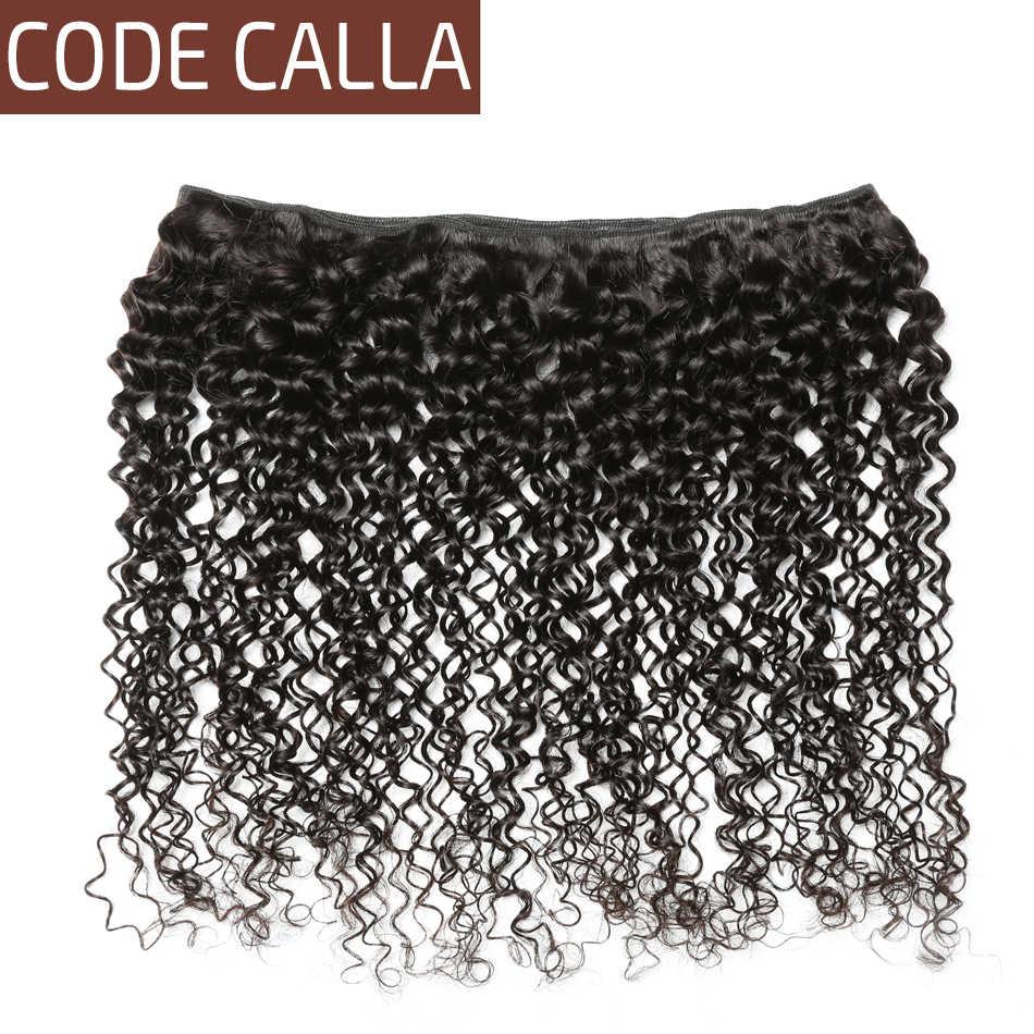 Código Calla peruano sin procesar virgen extensión de cabello humano 1/3/4 paquetes Afro rizado Armadura natural 1B Color