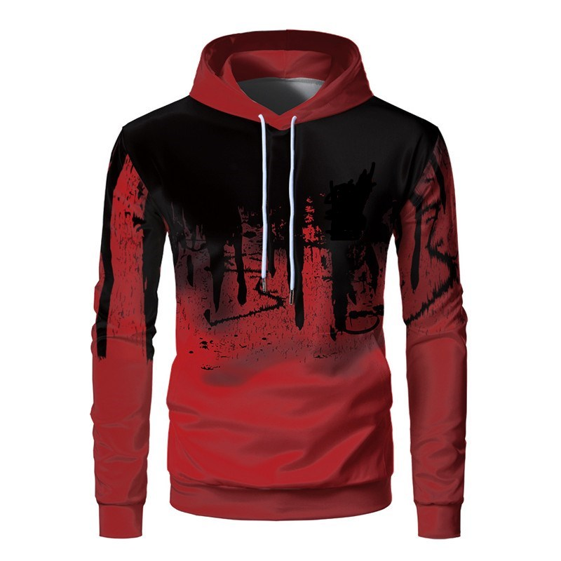 2020 New Style Autumn Fashion Sweatshirts Hoodies Men 3D Printing Ink Patchwork Pullover Hip Hop Letters Hooded Thin Pullovers
