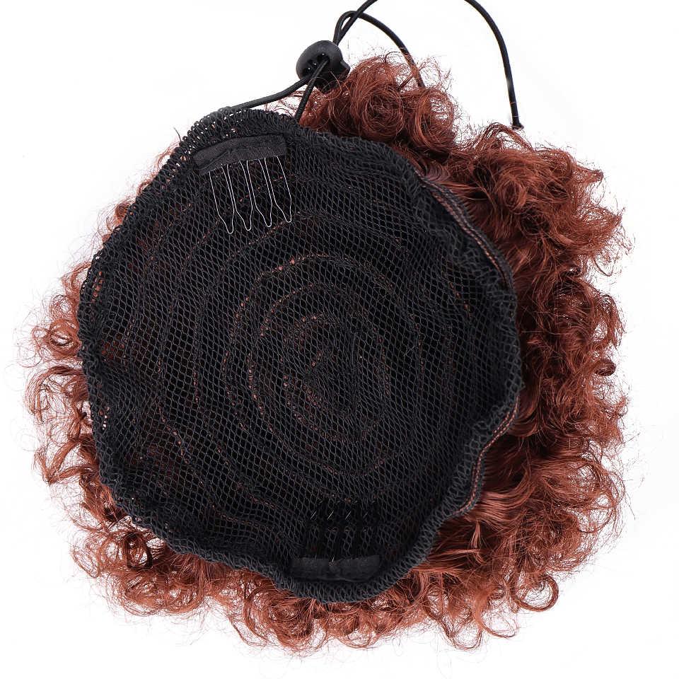 Difei peruca de rabo de cavalo, peruca curta cacheada de rabo de cavalo com cordão afro, cabelo sintético peças peças