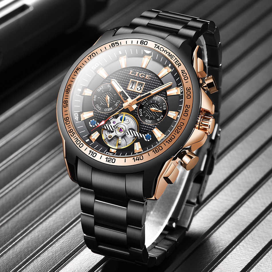 LIGE 패션 100 미터 남성용 방수 축광 자동 기계식 시계 탑 브랜드 럭셔리 뚜르 비옹 비즈니스 남성 시계