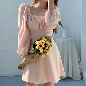 Vestido rosa de cuello cuadrado sólido de manga de soplo largo Sexy...