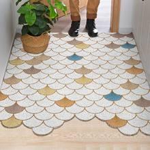Скандинавский ПВХ дверной коврик для ступни, входная дверь, шестигранный свободный коврик для резки, эффективная Чистящая дверь, декоратив...