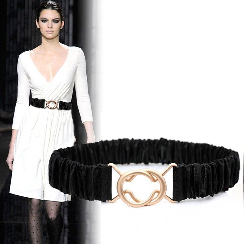 Women's Girdle Elastic Waistbands For Dress Stretch Waist Belts HOT Black Soft PU Leather Coat Cummerbunds Lady Gifts Girl Party