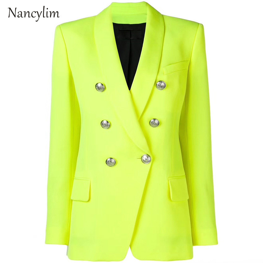 Women's Jacket Metal Buckle Double Breasted Shawl Lapel Midi Suit Jacket Womens Fashion Blazer Femme Blaser Feminino Nancylim