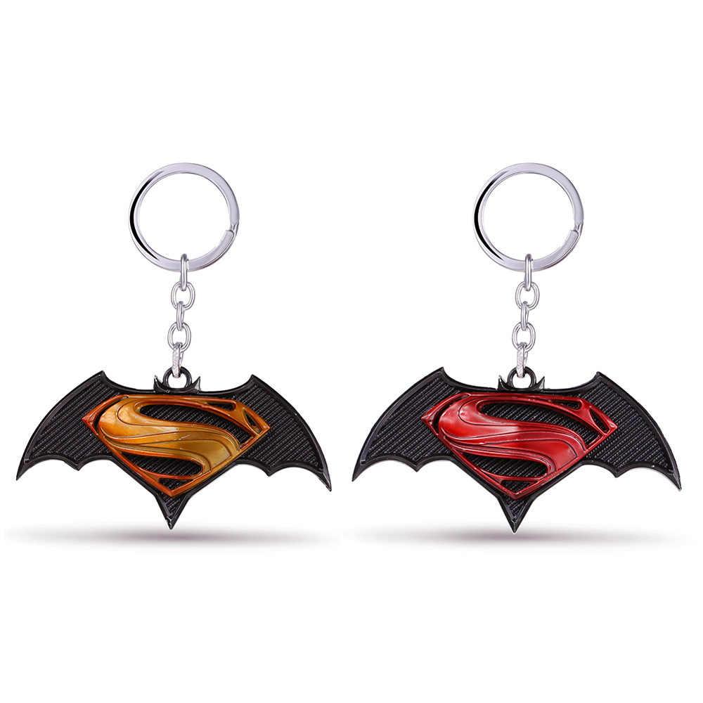 Anime Batman V Superman Logo Móc Khóa Justice League Siêu Nhân Kim Loại Keyrings Xe Ô Tô Đựng Chìa Khóa Mặt Dây Phụ Kiện Hình