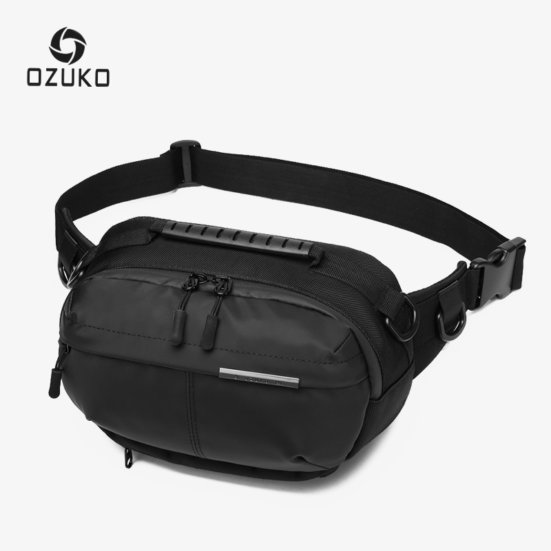OZUKO Waterproof Men Waist Bag Fashion Chest Pack Male Outdoor Sports Crossbody Bag Short Travel Belt Fanny Pack For Phone Pouch