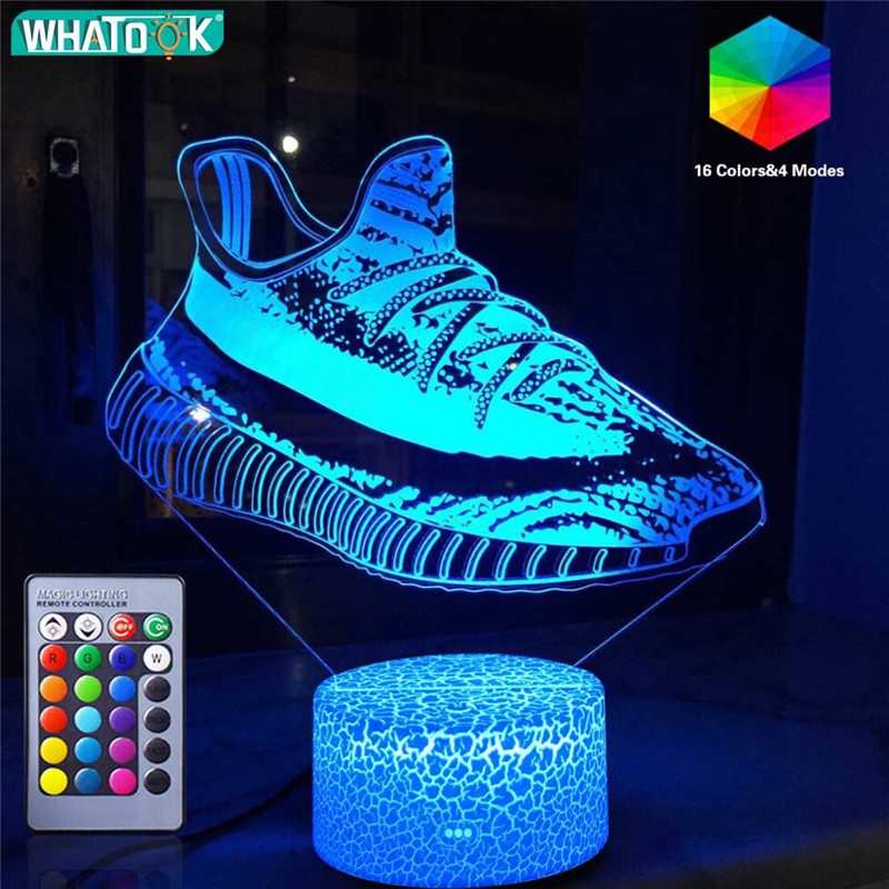3D Sport Series Night Light Game LED Table Lamp Sneakers  Football Skateboard Remote Nightlight Birthday Holiday Christmas Gifts