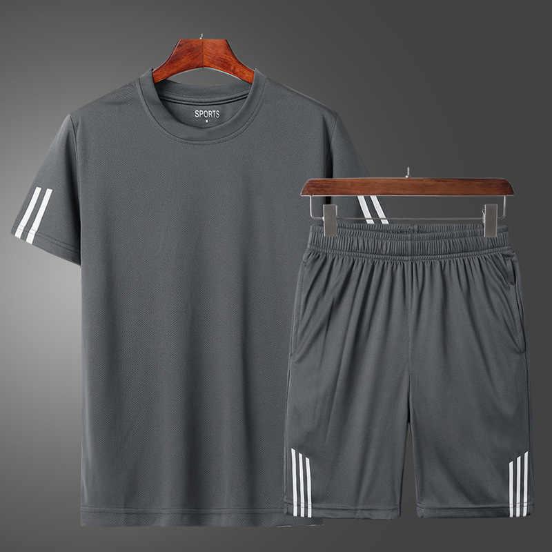 2020 erkekler rahat seti moda 2 adet eşofman çizgili kısa kollu tişört şort setleri erkek spor eşofman yaz spor takım elbise
