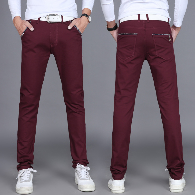 Spring Summer Classic Men's Elastic Casual Pants Mens Business Dress Slim Fit Jogger Stretch Long Trousers Male
