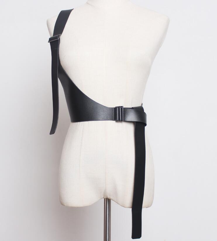 Women's Runway Fashion One Shoulder Pu Leather Cummerbunds Female Dress Corsets Waistband Belts Decoration Wide Belt R1890