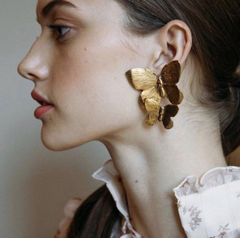European and American style fashion new exaggerated personality metal texture butterfly earrings creative small animal alloy ear image
