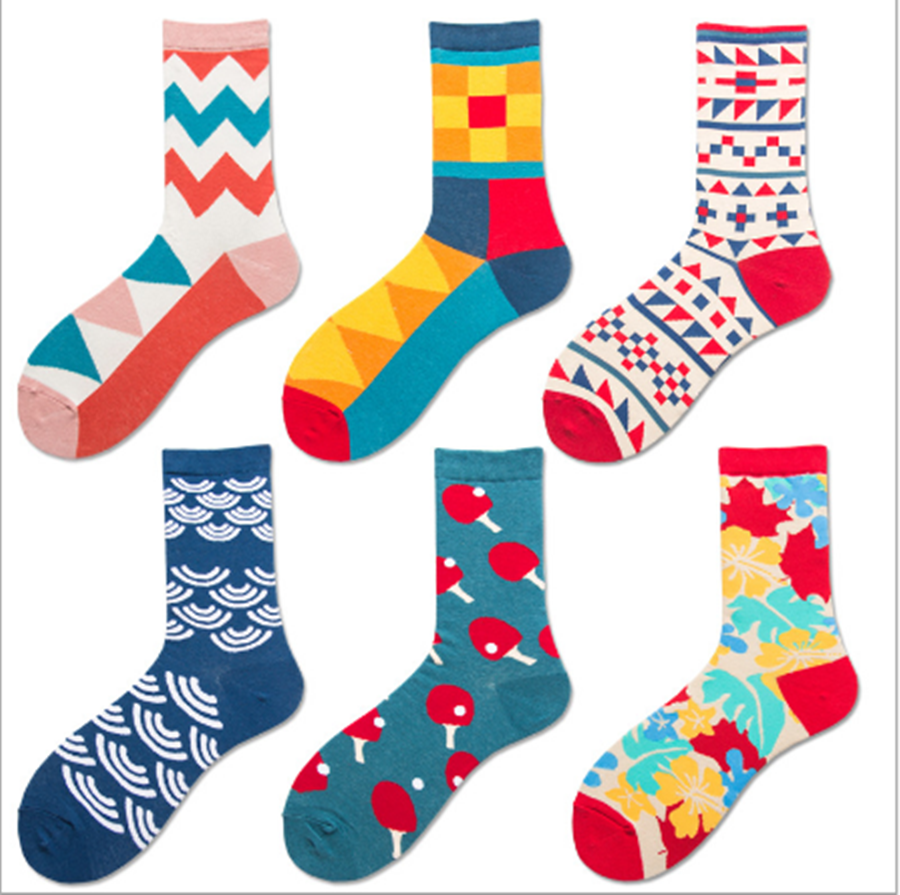 Classic Table Tennis Series Fashionable Stocks Ma'am Socks Jacquard Personality Men's And Women's Cotton Socks