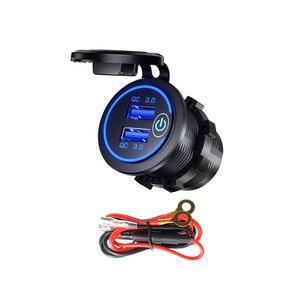 Image 1 - Double chargeur USB QC3.0 avec LED interrupteur tactile pour téléphone portable de moto de voiture