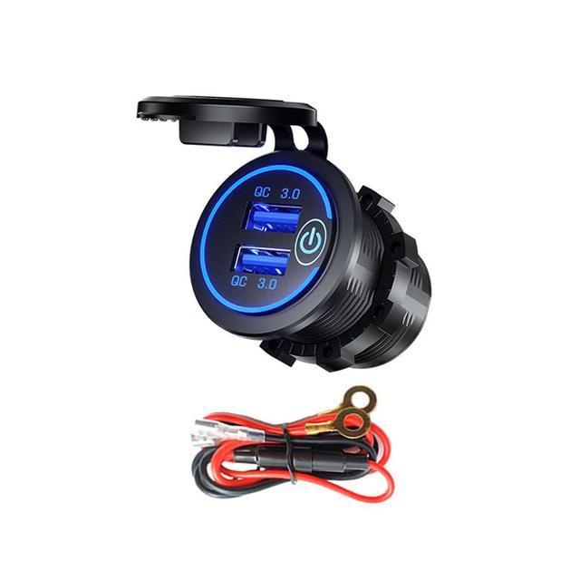 Double chargeur USB QC3.0 avec LED interrupteur tactile pour téléphone portable de moto de voiture
