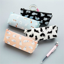 Cat Pencils Case School-Supplies Kawaii Girl Pen-Storage Stationery Large-Capacity Silicone