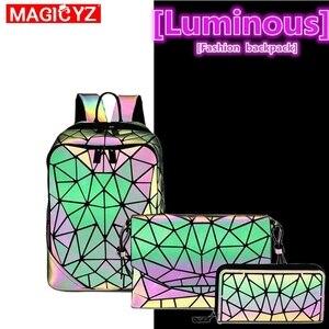 Image 5 - Лазерный светящийся треугольный комплект с блестками, рюкзак для женщин, сумка на плечо, школьный рюкзак для девочек, женский дизайн, рюкзак, голографическая сумка