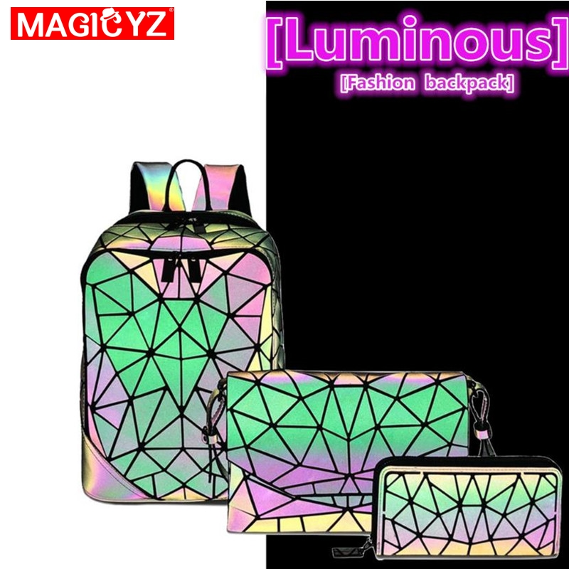 Image 5 - Laser Luminous Triangle Sequin set Backpack for women's shoulder bag School Girls Backpack Female Design Backbag holographic bag-in Backpacks from Luggage & Bags
