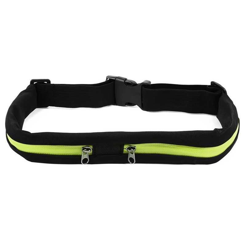 Sports de plein air sac étanche taille Flexible vélo équitation ceinture poche Double poche pour iPhone Android téléphone (vert)