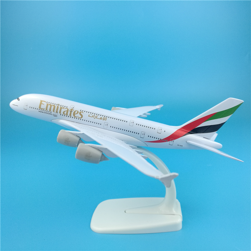 20cm Airplane <font><b>Model</b></font> <font><b>Airbus</b></font> <font><b>A380</b></font> Emirates Airlines Simulation Metal Diecast Alloy Plane Kids Toys image
