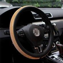 Steering wheel cover Strass Auto Leder Lenkrad Deckt Kappe Kristall Abdeckung Innen Zubehör Für Frauen Mädchen