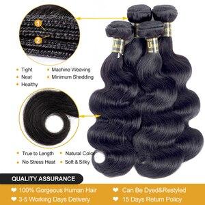 Image 3 - Uneed Brazilian Body Wave Bundles Hair Extensions 100% Remy Human Hair Weave Bundles 30 32 40 Inch Natural Color Buy 1/3/ 4 Pcs